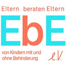 blau oranges Logo von EbE e.V. - Eltern beraten Eltern von Kindern mit und ohne Behinderung