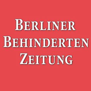 rot weißes Logo der Berliner Behinderten Zeitung