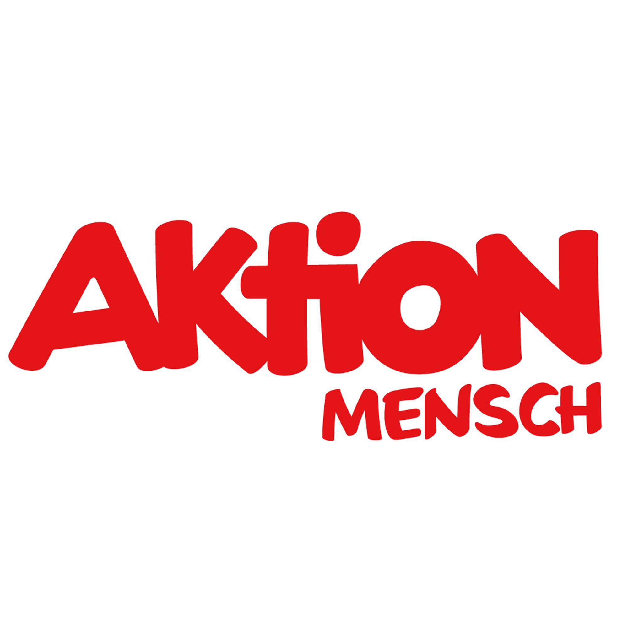 Logo der Aktion Mensch als Wortbildmarke. Rote Schrift auf weißem Grund.