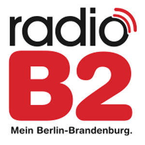 schwarz rotes Logo vom Radiosenders Radio B2 Berlin Brandenburg