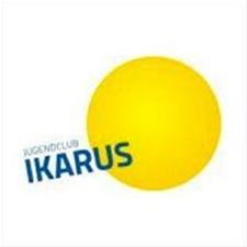 gelb blaues Logo des Jugendclub Ikarus