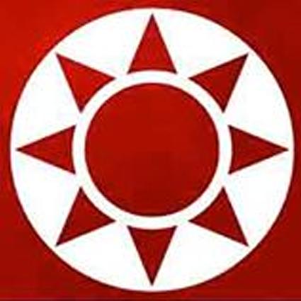 rundes Logo. Rote Sonne auf weißem Grund.