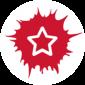 Rundes Logo der Sozialhelden. Weißer Stern auf rotem Grund.