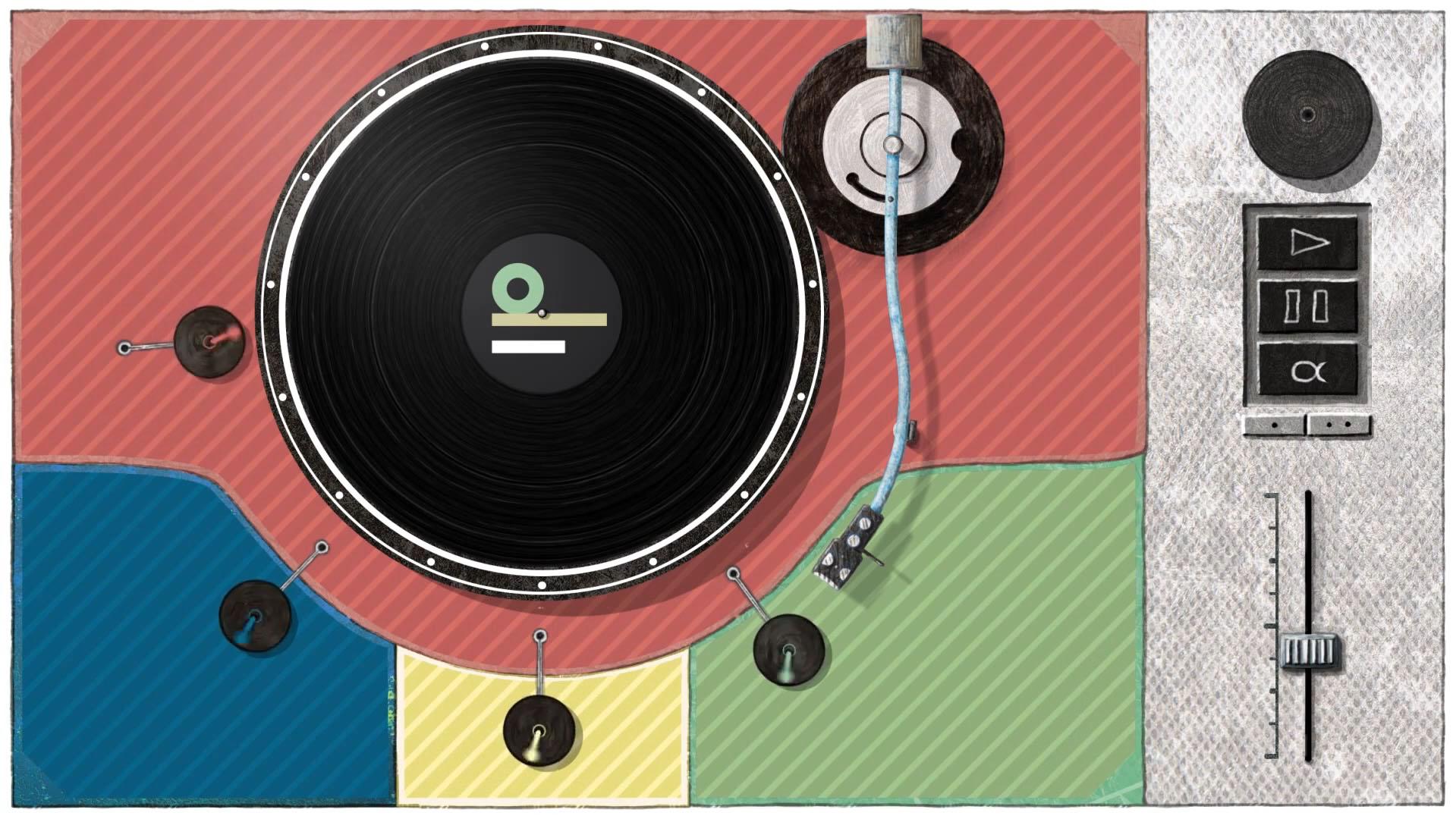 Grafik eines Schallplattenspielers. Inklusion ohne Worte. Indiwi Berlin.