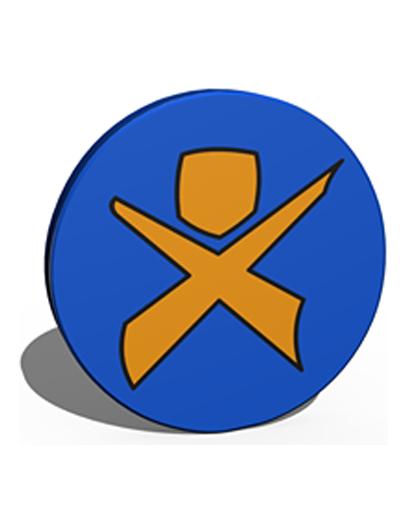 Rundes Logo des Integrationsprojektes e.V.. Orangenes Männchen auf blauen Grund.
